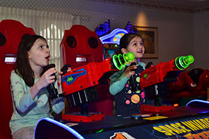 kids playing laser game