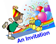Ryan Amusements Bowling Invitations