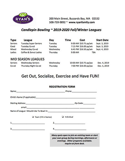 Buzzards Bay Bowling League Form