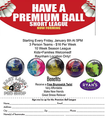 Raynham Bowling League Sign Up Form